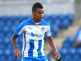 Craig Eastmond of Colchester looks to attack during the Pre Season Friendly match between Colchester United and Ipswich Town at The Weston Homes Community Stadium on July 23, 2014