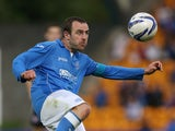 Dave McKay St Johnstone controls the ball during the UEFA Europa League Third Qualifying Round, First Leg match between St Johnstone and Spartak Trnava, at McDiarmid Park on July 31, 2014