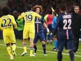 Chelsea's Diego Costa and David Luiz of Paris Saint-Germain tussle during the Champions League last-16 first leg at the Parc des Princes on February 17, 2015