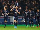 Edinson Cavani celebrates scoring the equaliser for PSG against Chelsea on February 17, 2015