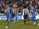 Daniele Rugani of Empoli FC celebrates after scoring a goal during the Serie A match between Empoli FC and AC Chievo Verona at Stadio Carlo Castellani on February 22, 2015
