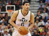 Enes Kanter #0 of the Utah Jazz holds the ball during their game against the Cleveland Cavaliers at EnergySolutions Arena on November 5, 2014
