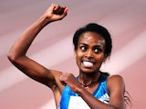 Ethiopia's Genzebe Dibaba celebrates after winning the 5000m Women event on June 5, 2014