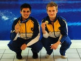 Chris Mears and Jack Laugher pose with their gold medals after winning the 3m synchro at the National Diving Championships on February 20, 2015