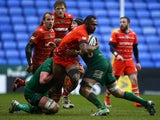 Vereniki Goneva of Leicester attacks during the Aviva Premiership match between London Irish and Leicester Tigers at Madejski Stadium on February 22, 2015