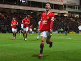Ander Herrera of Manchester United celebrates scoring their first goal during the FA Cup Fifth round match between Preston North End and Manchester United at Deepdale on February 16, 2015