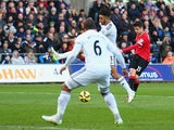 Ander Herrera of Manchester United scores the opening goal during the Barclays Premier League match between Swansea City and Manchester United at Liberty Stadium on February 21, 2015