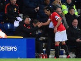 Manager Louis van Gaal of Manchester United shakes hands with Radamel Falcao of Manchester United as he is replaced during the FA Cup Fifth round match between Preston North End and Manchester United at Deepdale on February 16, 2015