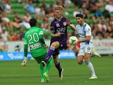 Andy Keogh (#9) of Perth Glory has his shot blocked by goalkeeper Tando Velaphi (#20) of Melbourne City during the round 18 A-League match between Melbourne City FC and Perth Glory at AAMI Park on February 22, 2015