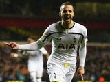 Roberto Soldado of Spurs celebrates as he scores their first goal during the UEFA Europa League Round of 32 first leg match against Fiorentina on February 19, 2015
