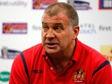 Head coach Shaun Wane of Wigan speaks during a press conference after the Super League match between St Helens and Wigan Warriors at Langtree Park on April 18, 2014