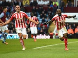 Victor Moses of Stoke City celebrates scoring their second goal with Jonathan Walters of Stoke City during the Barclays Premier League match between Aston Villa and Stoke City at Villa Park on February 21, 2015