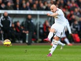 Jonjo Shelvey of Swansea City scores their second goal during the Barclays Premier League match between Swansea City and Manchester United at Liberty Stadium on February 21, 2015