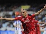 Timothee Kolodziejczak celebrates scoring for Sevilla on February 22, 2015