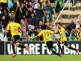 Jason Hicks of the Phoenix celebrates with teammate Albert Riera after scoring a goal during the round 18 A-League match between Wellington Phoenix and Newcastle Jets at Hutt Recreation Ground on February 22, 2015