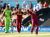 Denesh Ramdin of West Indies celebrates holding a catch during the 2015 ICC Cricket World Cup match between Pakistan and the West Indies at Hagley Oval on February 21, 2015