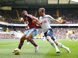 West Ham's Winston Reid takes on Harry Kane of Spurs on February 22, 2015