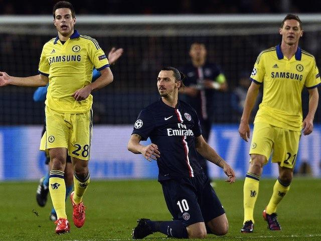 PSG's Zlatan Ibrahimovic misses a goal opportunity against Chelsea on February 17, 2015