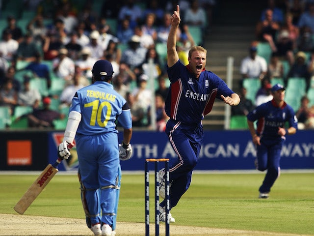 Andrew Flintoff of England celebrates the wicket of Sachin Tendulkar of India during the ICC Cricket World Cup 2003, Pool A match between England and India held on February 26, 2015