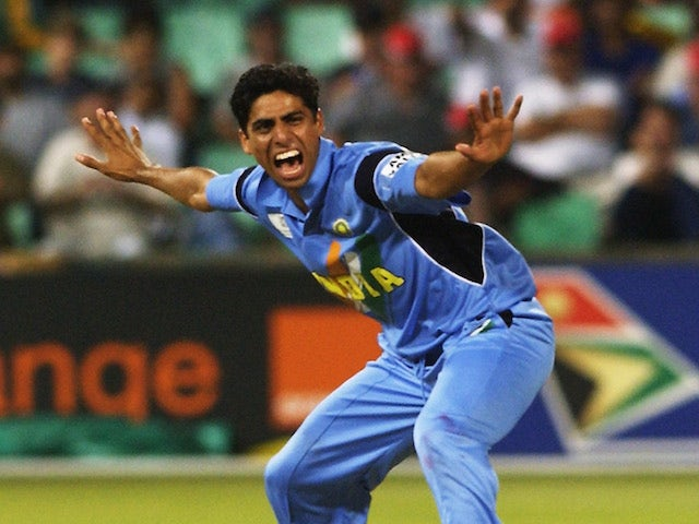 Ashish Nehra of India celebrates the wicket of Alec Stewart of England during the ICC Cricket World Cup 2003, Pool A match between England and India held on February 26, 2003