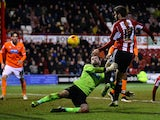 Jon-Miquel Toral of Brentford FC scores the 4th goal during the Sky Bet Championship match between Brentford and Blackpool at Griffin Park on February 24, 2015