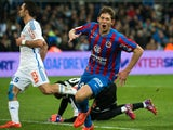 Caen's Argentinian forward Emiliano Sala celebrates after scoring a goal during the French L1 football match between Marseille (OM) and Caen (SMC) on February 27, 2015