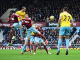 Glenn Murray of Crystal Palace scores their first goal with a header during the Barclays Premier League match between West Ham United and Crystal Palace at Boleyn Ground on February 28, 2015