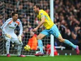 : Despair for Adrian of West Ham United as Glenn Murray of Crystal Palace celebrates as he scores their third goal during the Barclays Premier League match between West Ham United and Crystal Palace at Boleyn Ground on February 28, 2015
