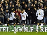 Jesse Lingard of Derby celebrates with teammates after scoring his team's second goal during the Sky Bet Championship match between Derby County and Charlton Athletic at iPro Stadium on February 24, 2015