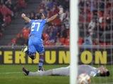 Torino's forward Fabio Quagliarella (L) celebrates after scoring during the UEFA Europa League Round of 32 second leg football match against Athletic Club Bilbao on February 26, 2015