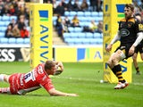 Ross Moriarty of Gloucester breaks away to score a try during the Aviva Premiership match between Wasps and Gloucester at The Ricoh Arena on March 1, 2015