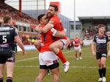 Ken Sio of Hull Kingston Rovers celebrates his opening try with Tyrone McCarthy during the First Utility Super League match between Hull KR and Wigan at Craven Park on March 1, 2015