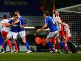 Tyrone Mings of Ipswich Town (3) celebrates with Tommy Smith (5) as he scores their first goal during the Sky Bet Championship match between Ipswich Town and Birmingham City at Portman Road on February 24, 2015