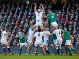 Dave Attwood of England wins lineout ball under presure from Peter O'Mahoney of Ireland during the RBS Six Nations match between Ireland and England at the Aviva Stadium on March 1, 2015