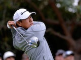 James Hahn tees off on the 11th hole during the Final Round of the Northern Trust Open at the Riviera Country Club on February 22, 2015