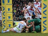 Laurence Pearce of Leicester Tigers touches down to score their first try during the Aviva Premiership match against Sale Sharks on February 28, 2015