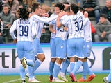 Marco Parolo # 16 of SS Lazio celebrates after scoring his team's third goal during the Serie A match against US Sassuolo Calcio on March 1, 2015