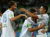 Joshua Kennedy and Robert Koren of Melbourne City FC celebrate during the round 19 A-League match between Melbourne City FC and Adelaide United at AAMI Park on February 27, 2015