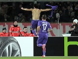 Mohamed Salah of ACF Fiorentina celebrates after scoring a goal during the UEFA Europa League Round of 32 match against Tottenham Hotspur on February 26, 2015