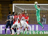 Monaco's Croatian goalkeeper Danijel Subasic catches the ball during the French L1 football match Monaco (ASM) vs Paris Saint-Germain (PSG), on March 1, 2015