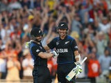 Kane Williamson and Trent Boult of New Zealand celebrate victory during the 2015 ICC Cricket World Cup match between Australia and New Zealand at Eden Park on February 28, 2015