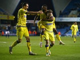 Stevie May of Sheffield Wednesday celebrates his goal during the Sky Bet Championship match between Millwall and Sheffield Wednesday at The Den on February 24, 2015