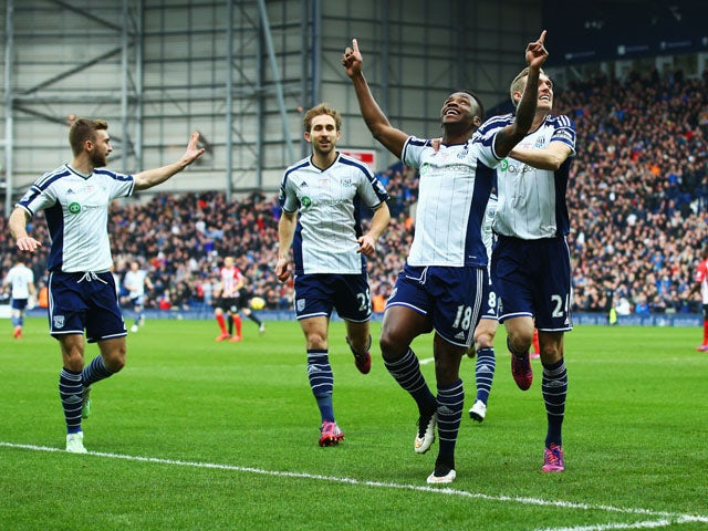 Saido Berahino of West Bromwich Albion (18) celebrates with Darren Fletcher (24) as he scores their first goal during the Barclays Premier League match between West Bromwich Albion and Southampton at The Hawthorns on February 28, 2015