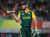 South African captain AB De Villiers leaves the field during the Pool B 2015 Cricket World Cup match between South Africa and Pakistan at Eden Park on March 7, 2015