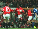 Andy Cole celebrating a goal for Manchester United against Ipswich Town on March 4, 1995