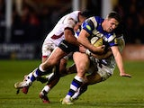 Bath centre Sam Burgess runs through the Sale defence during the Aviva Premiership match between Bath Rugby and Sale Sharks at Recreation Ground on March 6, 2015