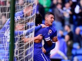 Cardiff City player Federico Macheda and team mates celebrate the first goal during the Sky Bet Championship match between Cardiff City and Charlton Athletic at Cardiff City Stadium on March 7, 2015