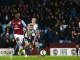 Christian Benteke of Aston Villa scores their second goal from the penalty spot during the Barclays Premier League match against West Bromwich Albion on March 3, 2015
