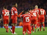 Daniel Sturridge of Liverpool celebrates scoring their second goal during the Barclays Premier League match between Liverpool and Burnley at Anfield on March 4, 2015