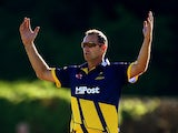 Dean Cosker of Glamorgan looks on dejected during the Natwest T20 Blast match between Middlesex Panthers and Glamorgan at Richmond Cricket Club, Old Deer Park, on July 03, 2014